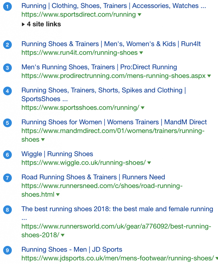 running shoes seo